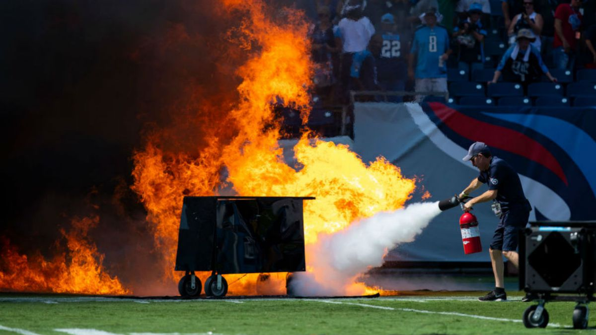 Pregame pyrotechnics spark fire on field before Titans game