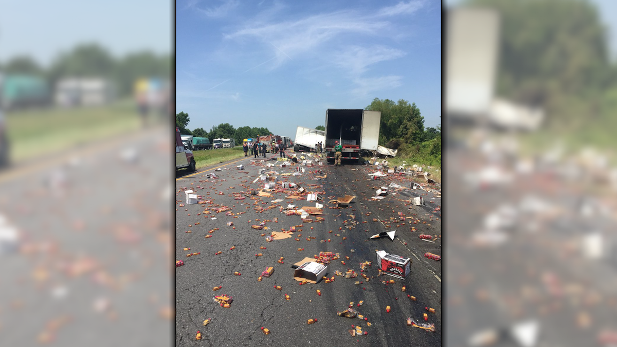 Fireball Whiskey thrown across interstate after accident
