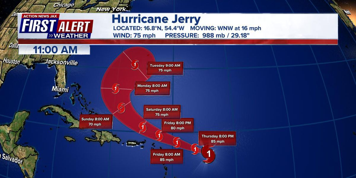Jerry strengthens, now a category 1 hurricane