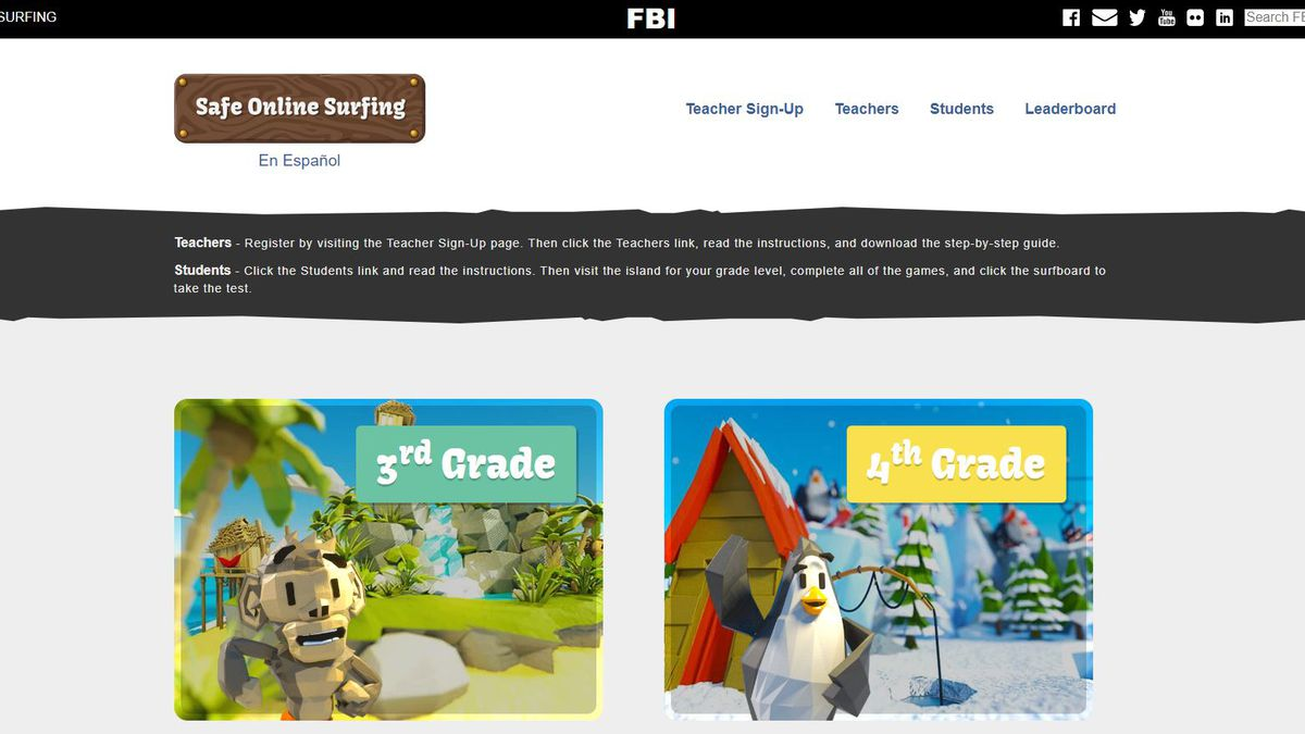 Parents: Check out the FBI's Safe Online Surfing site for kids