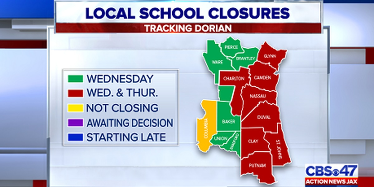 SCHOOL CLOSURES: Duval, surrounding counties cancel school Thursday