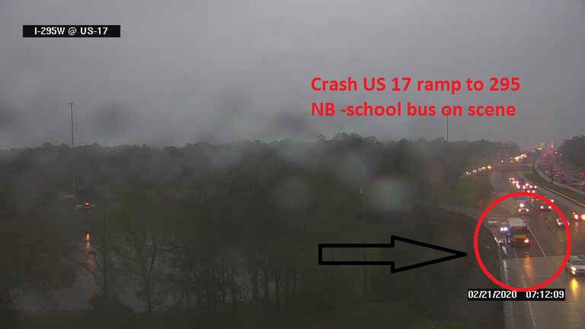 School bus involved in crash on I-295 N in Jacksonville
