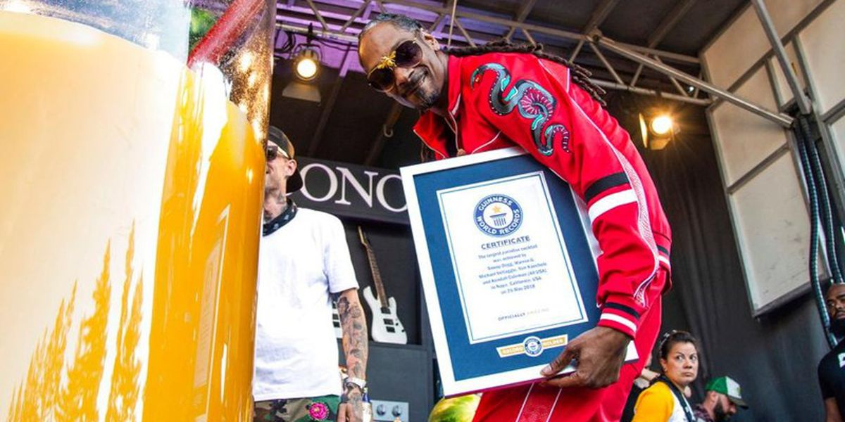 Snoop Dogg sets Guinness record for biggest glass of gin and juice