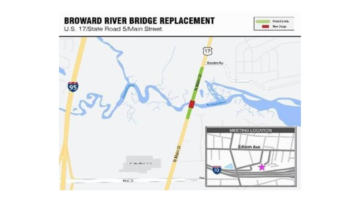 Hearing: Preview proposed median modifications for the new Broward River Bridge Wednesday