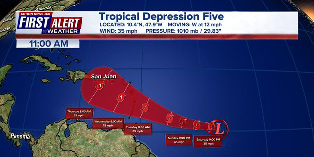 Tropical Depression 5 forms in the Atlantic, expected to become a hurricane next week