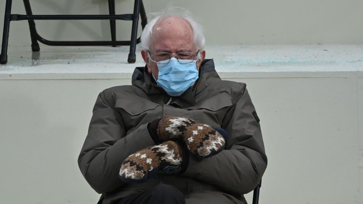 Bernie Sanders Wearing Mittens Sitting In A Chair Know Your Meme